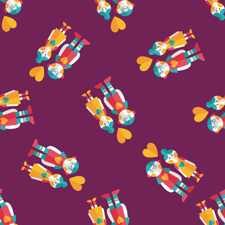 inlove: Valentines day couple flat icon,eps10 seamless pattern background