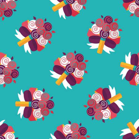 bouquet fleur: mariage bouquet de fleurs ic�ne plat, eps10 seamless fond