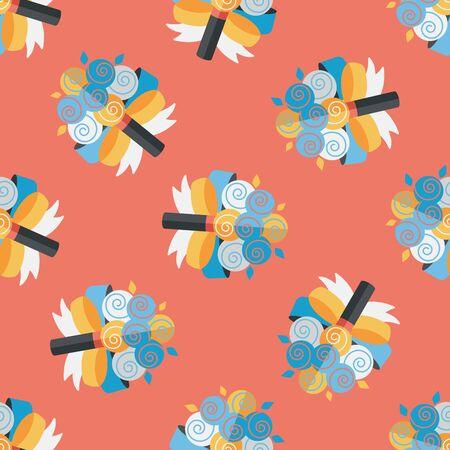 flower bouquet: wedding flower bouquet flat icon,eps10 seamless pattern background