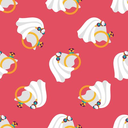 bride veil: bride veil and diamond ring flat icon,eps10 seamless pattern background