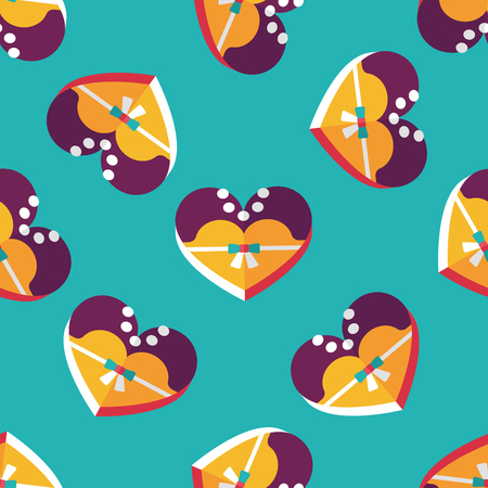 sh: wedding bride dress shaped box of cookies flat icon with long sh seamless pattern background