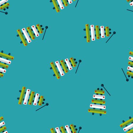 xylophone: Xylophone flat icon,eps10 seamless pattern background