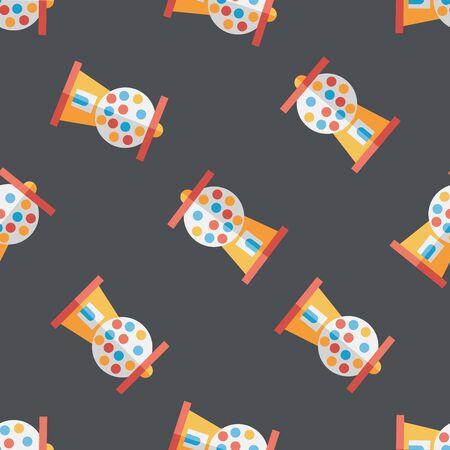 Gum ball Machine flat icon,eps10 seamless pattern background Vector