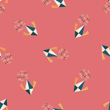 spring coat: kite flat icon,eps10 seamless pattern background Illustration
