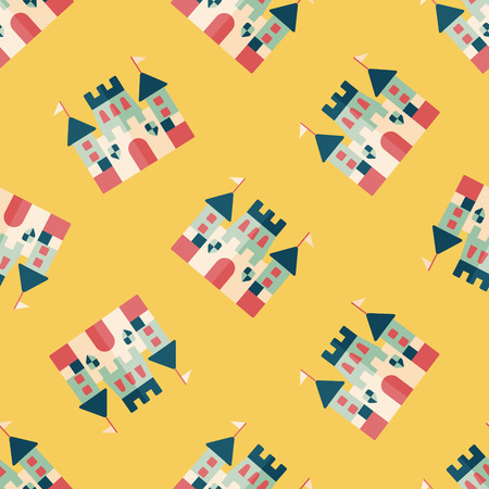 Castle flat icon,eps10 seamless pattern background Vector