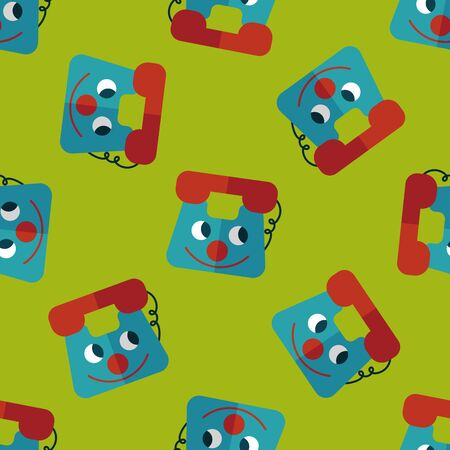 toy phone: toy phone flat icon,eps10 seamless pattern background Illustration