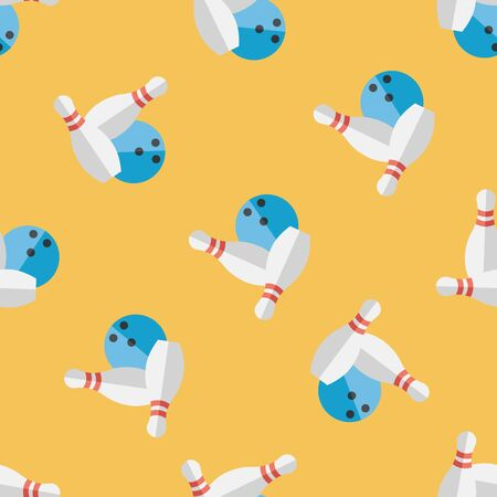 Bowling game flat icon,eps10 seamless pattern background 向量圖像