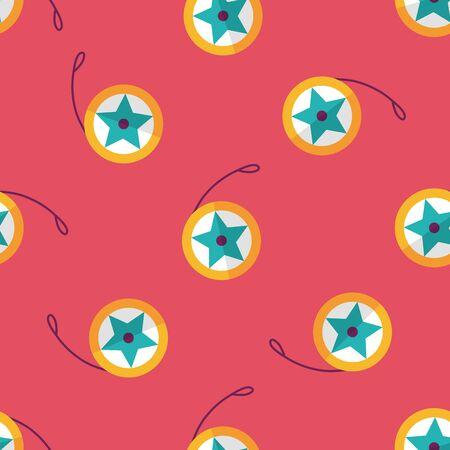 yo: yo yo flat icon,eps 10 seamless pattern background Illustration