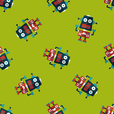 robot concept flat icon,eps10 seamless pattern background Vector
