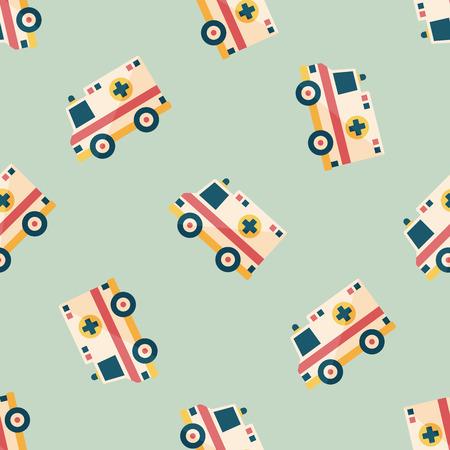 emt: Transportation ambulance flat icon,eps10 seamless pattern background