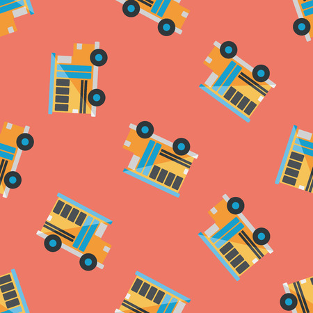 schoolbus: Transportation school bus flat icon,eps10 seamless pattern background Illustration