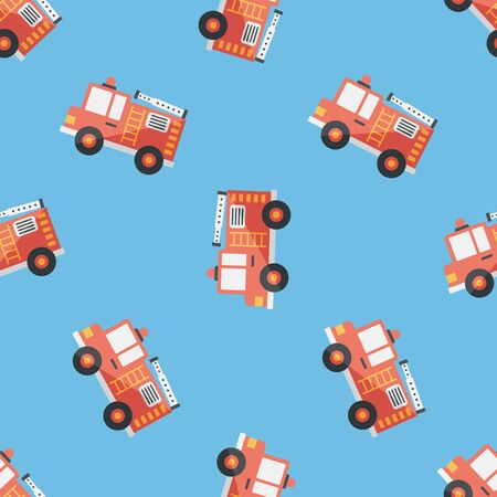 Transportation Fire truck flat icon,eps10 seamless pattern background