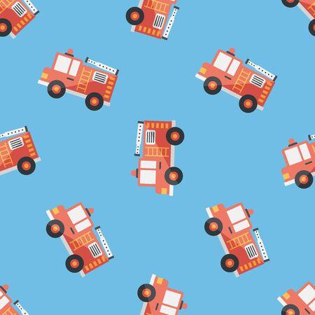 ladder safety: Transportation Fire truck flat icon,eps10 seamless pattern background