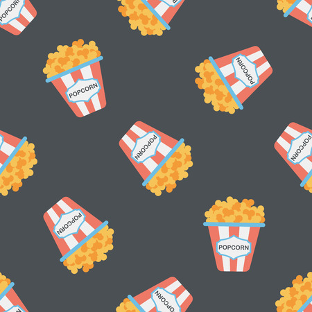 movie and popcorn: Popcorn flat icon,eps10 seamless pattern background Illustration