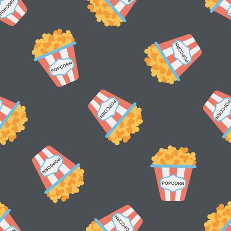 Popcorn flat icon,eps10 seamless pattern background Illustration