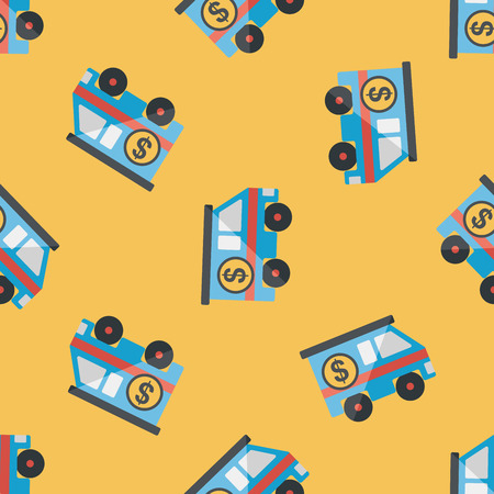 armored safes: Armored car flat icon,eps10 seamless pattern background