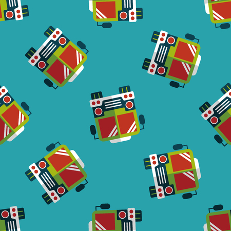 schoolbus: Transportation bus flat icon,eps10 seamless pattern background