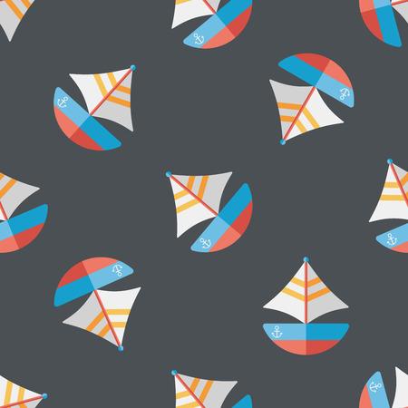 Transportation sailboat flat icon,eps10 seamless pattern background
