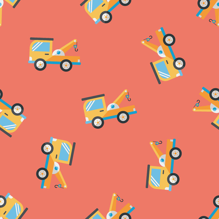 tow: Transportation Tow Truck flat icon,eps10 seamless pattern background Illustration