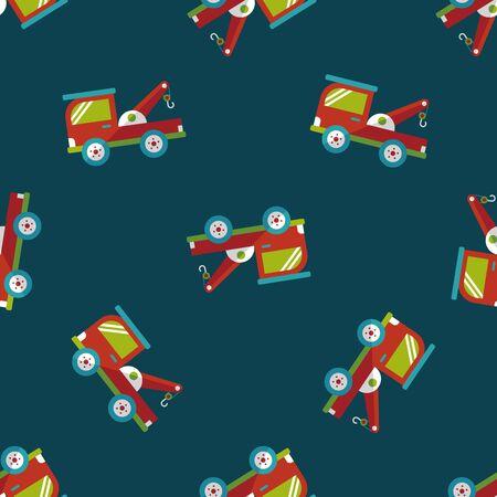 wrecker: Transportation Tow Truck flat icon,eps10 seamless pattern background Illustration