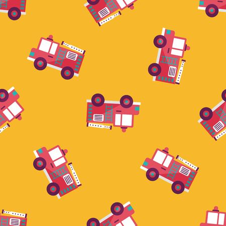 Transportation Fire truck flat icon,eps10 seamless pattern background Vector