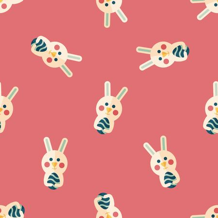 cartoon easter basket: easter bunny flat icon,eps10 seamless pattern background