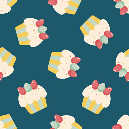 easter cupcake flat icon,eps10 seamless pattern background Vector