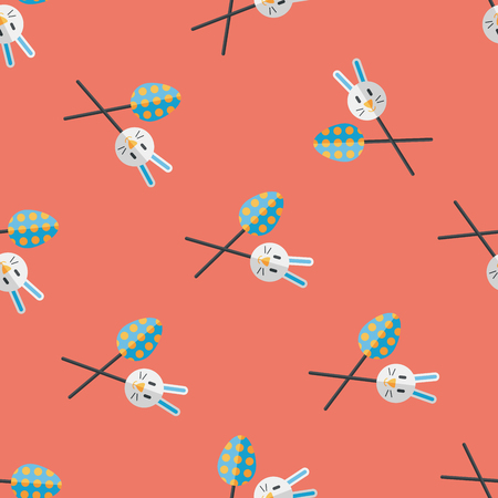 easter bunny: easter lollipop flat icon,eps10 seamless pattern background Illustration