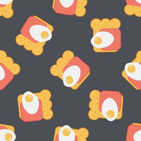 ham sandwich: Ham toast flat icon,eps10 seamless pattern background