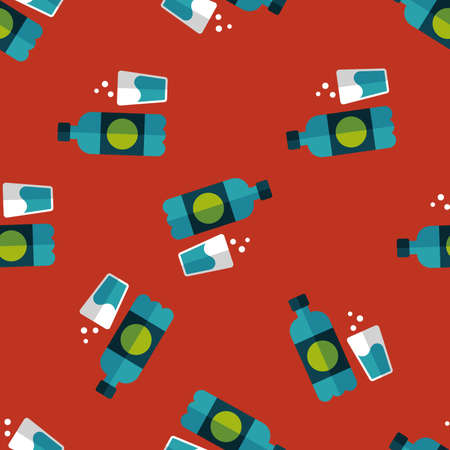 soda drink flat icon,eps10 seamless pattern background Vector