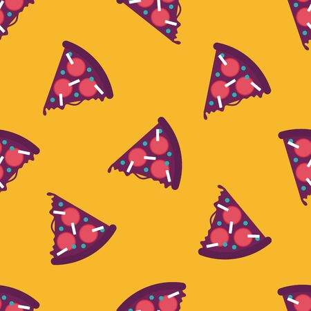 pizza flat icon,eps10 seamless pattern background Vector