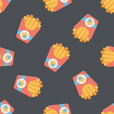 french fries flat icon,eps10 seamless pattern background Vector