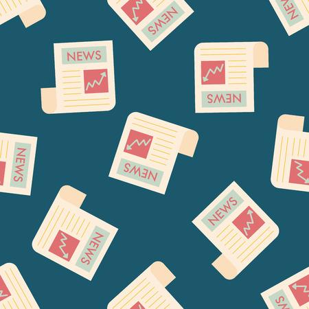 newsprint: financial news flat icon,eps10 seamless pattern background Illustration