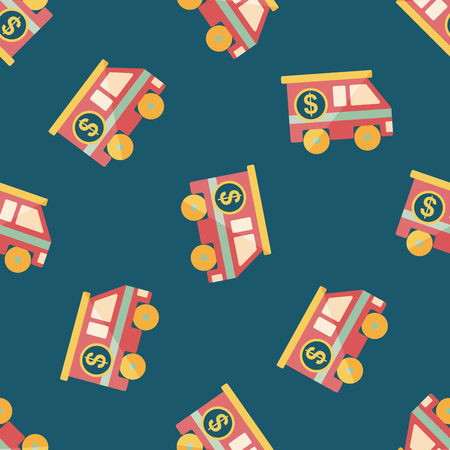 Armored car flat icon,eps10 seamless pattern background