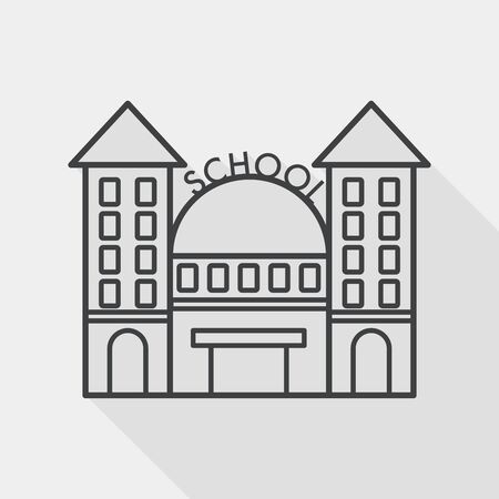 steeple: School building flat icon with long shadow, line icon Illustration