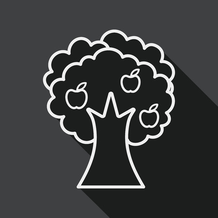 tree trunks: apple tree flat icon with long shadow, line icon Illustration