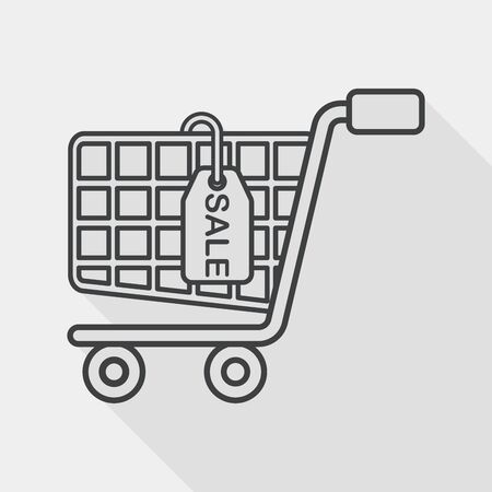 convenient store: shopping cart flat icon with long shadow, line icon