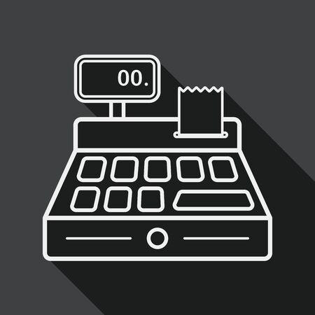Einkaufskassenflach Symbol mit langen Schatten, line icon