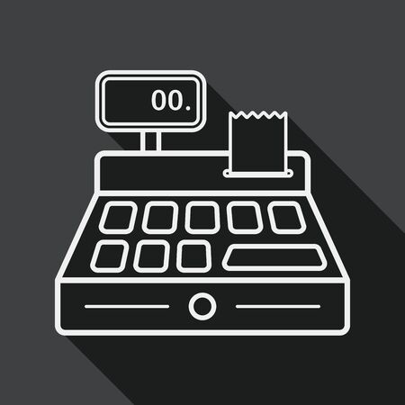 checkout line: shopping cash register flat icon with long shadow, line icon