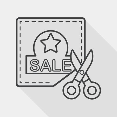 shopping sale coupon flat icon with long shadow, line icon Vector
