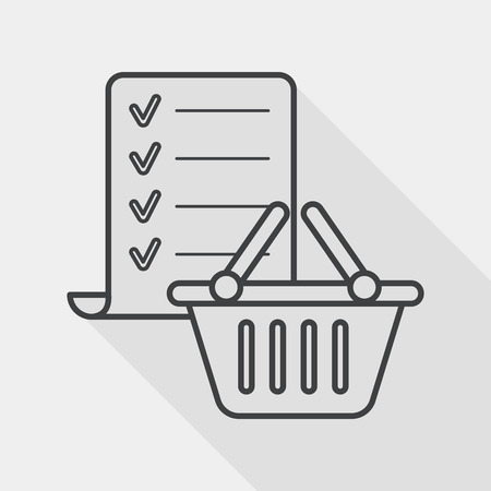 shopping list flat icon with long shadow, line icon Illustration