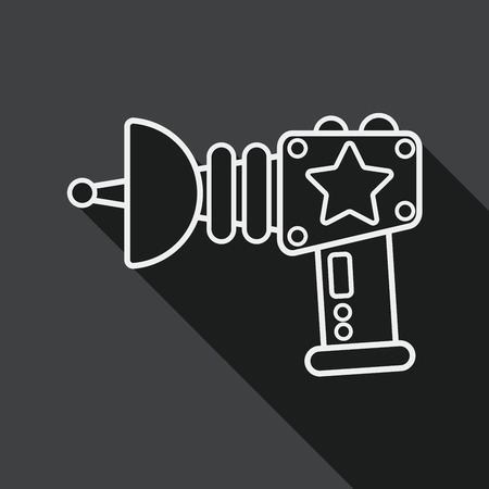 lazer: Space gun flat icon with long shadow, line icon