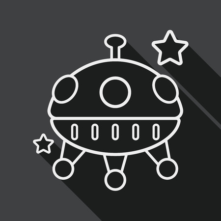 Space flat icon with long shadow, line icon Vector