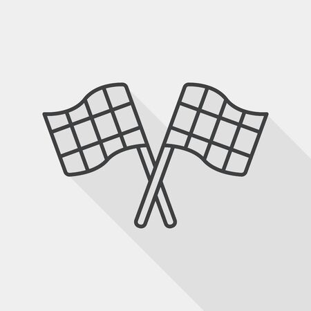 motorized sport: racing flags flat icon with long shadow, line icon Illustration