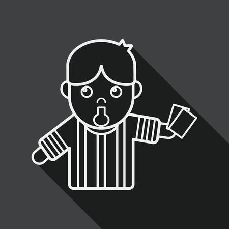 football judge: soccer referee flat icon with long shadow, line icon