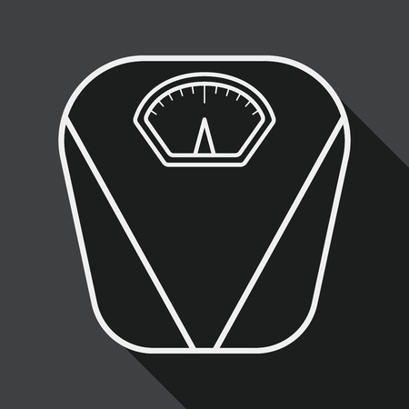 obsession: Weight scale flat icon with long shadow, line icon Illustration