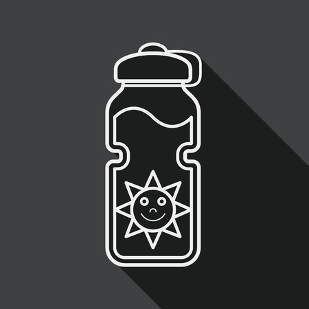 portability: sports water bottle flat icon with long shadow, line icon