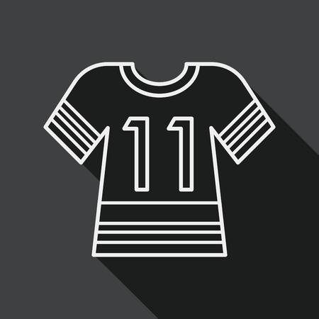jerseys: Sports jerseys flat icon with long shadow, line icon