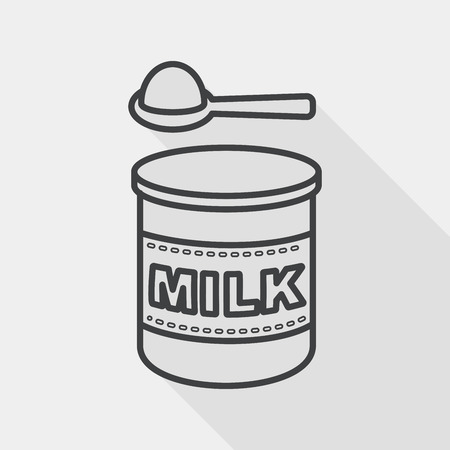 Powdered milk dairy food flat icon with long shadow,eps 10, line icon