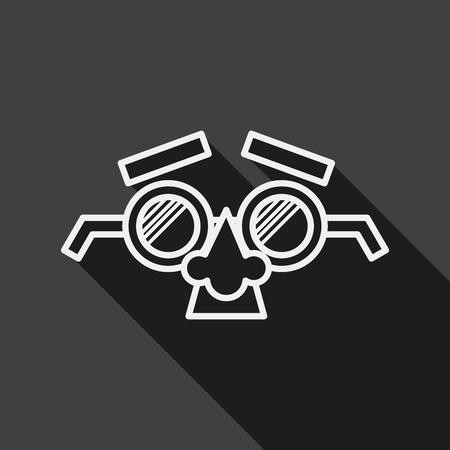 fake mask: party Mask flat icon with long shadow, line icon